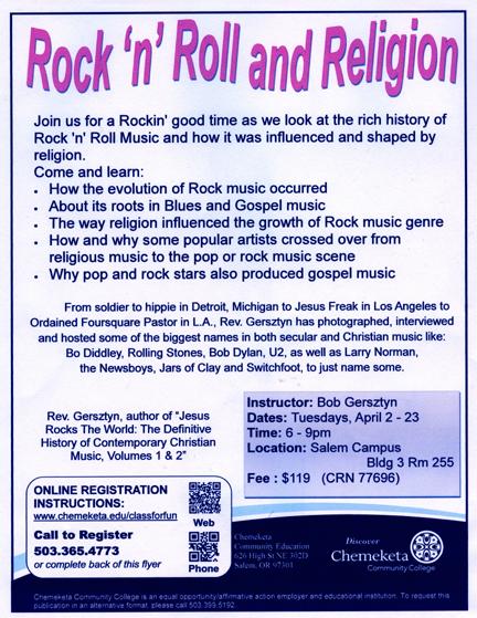 Rock & Roll & Religion Class