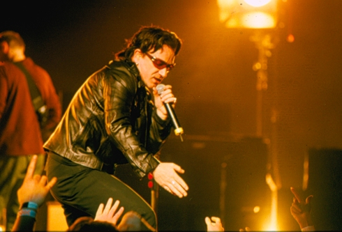 016 Bono of U2 reaching out to crowd