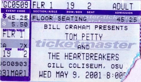 Tom Petty Ticket Stub